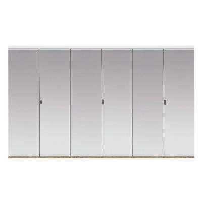 102 in. x 80 in. Polished Edge Mirror Solid Core MDF Full-Lite Interior Closet Wood Bi-Fold Door with White Trim