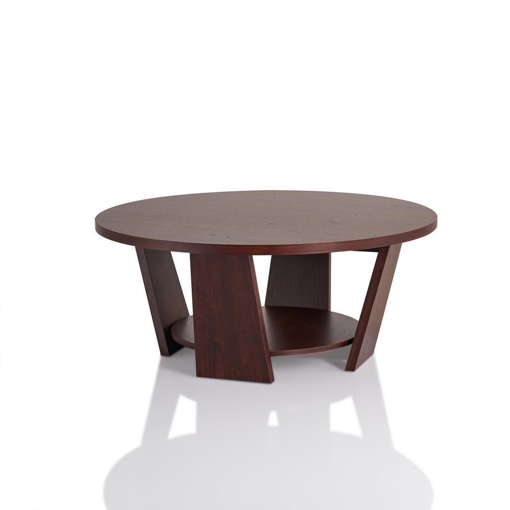 Furniture Of America Algar Vintage Walnut Round Coffee Table