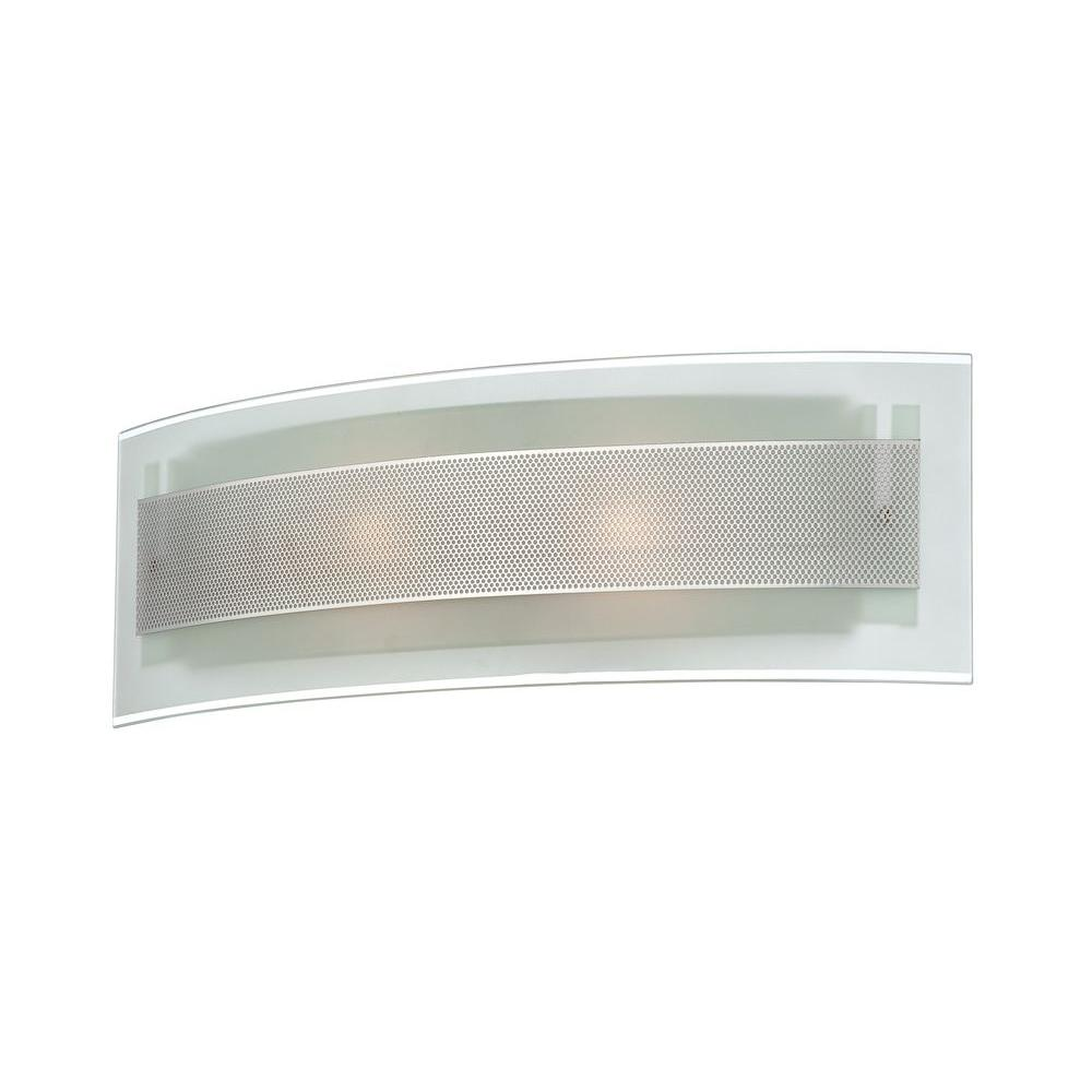 Illumine Designer Collection 2-Light Steel Wall Sconce with Frost Glass Shade