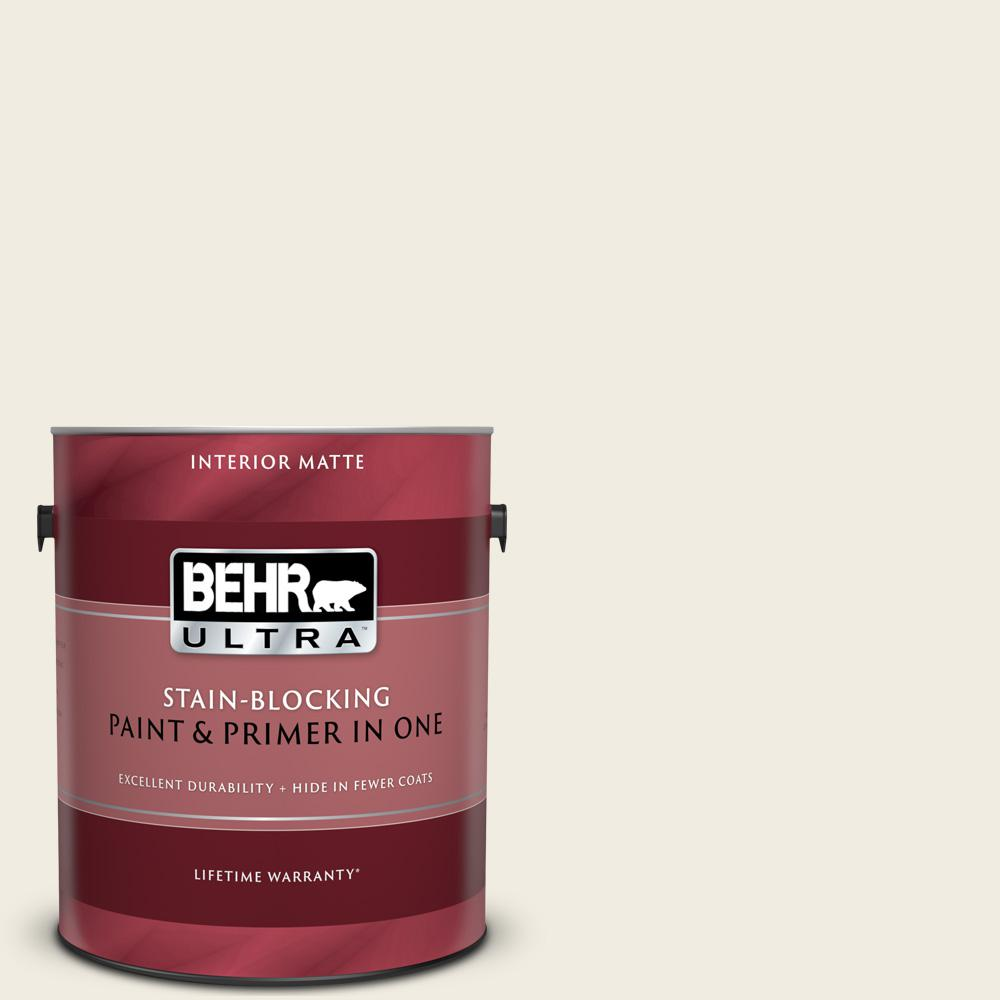 BEHR ULTRA 1 gal. #12 Swiss Coffee Matte Interior Paint and Primer in One
