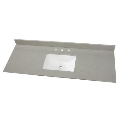 61 in. W x 22 in. D Engineered Quartz Vanity Top in Sterling Grey with White Single Trough Sink