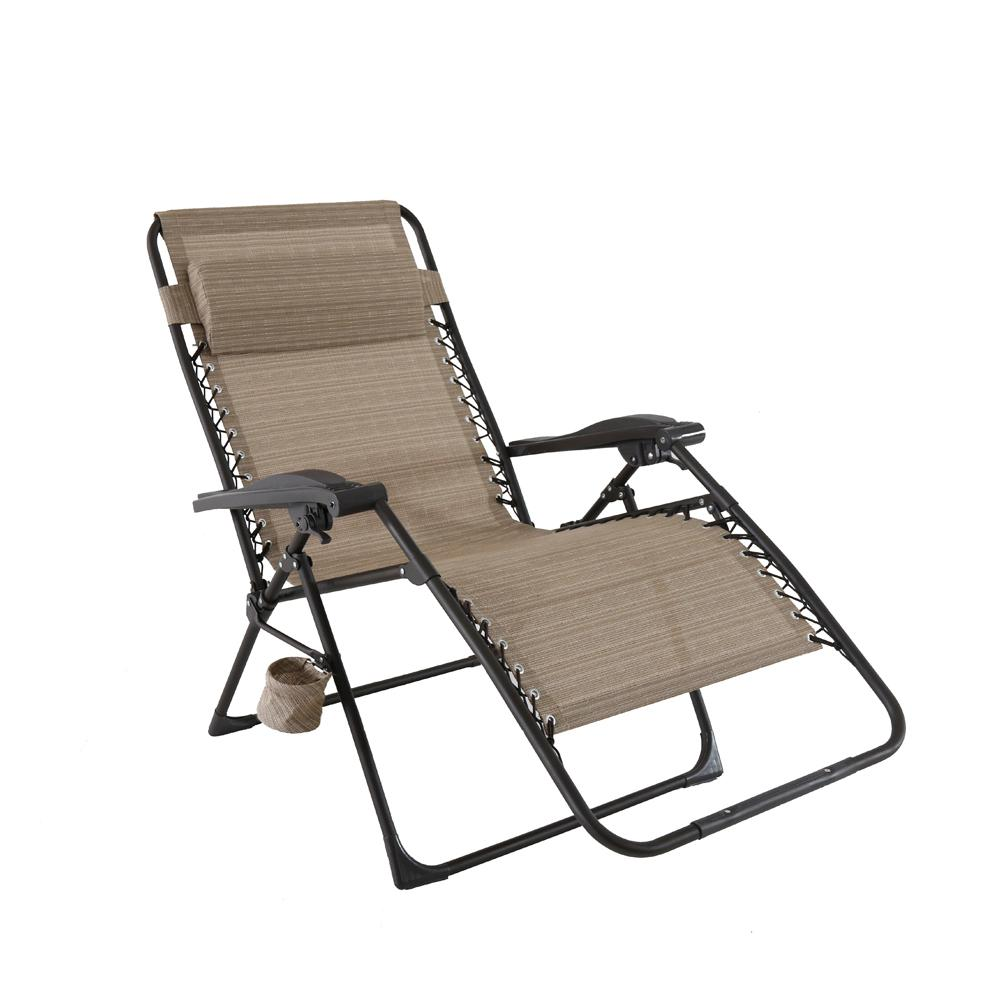 hampton bay mix and match oversized zero gravity sling outdoor chaise lounge chair in cafe. Black Bedroom Furniture Sets. Home Design Ideas