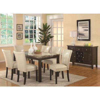 Carter Collection Cream Leatherette Dining Chair (Set of 2)