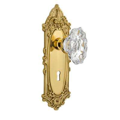 Victorian Plate with Keyhole 2-3/4 in. Backset Polished Brass Privacy Bed/Bath Chateau Door Knob
