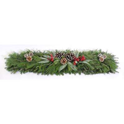 4 ft. Mixed Christmas Blueberry Fresh Evergreen Mantle Piece Garland