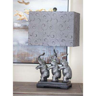 24 in. Modern Silver and Gray Elephant Polystone Table Lamp