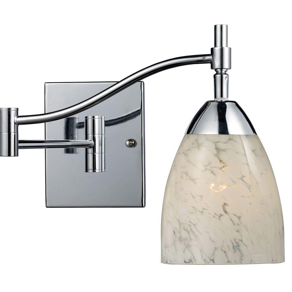Celina 1-Light Polished Chrome Wall-Mount Swingarm Sconce