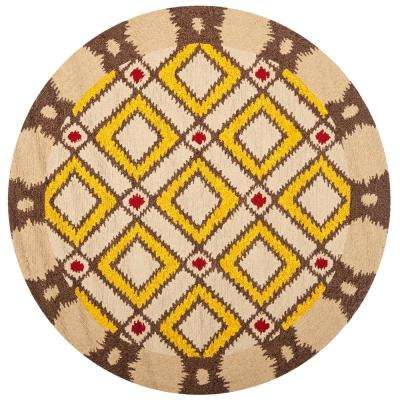 Four Seasons Beige/Yellow 4 ft. x 4 ft. Round Area Rug