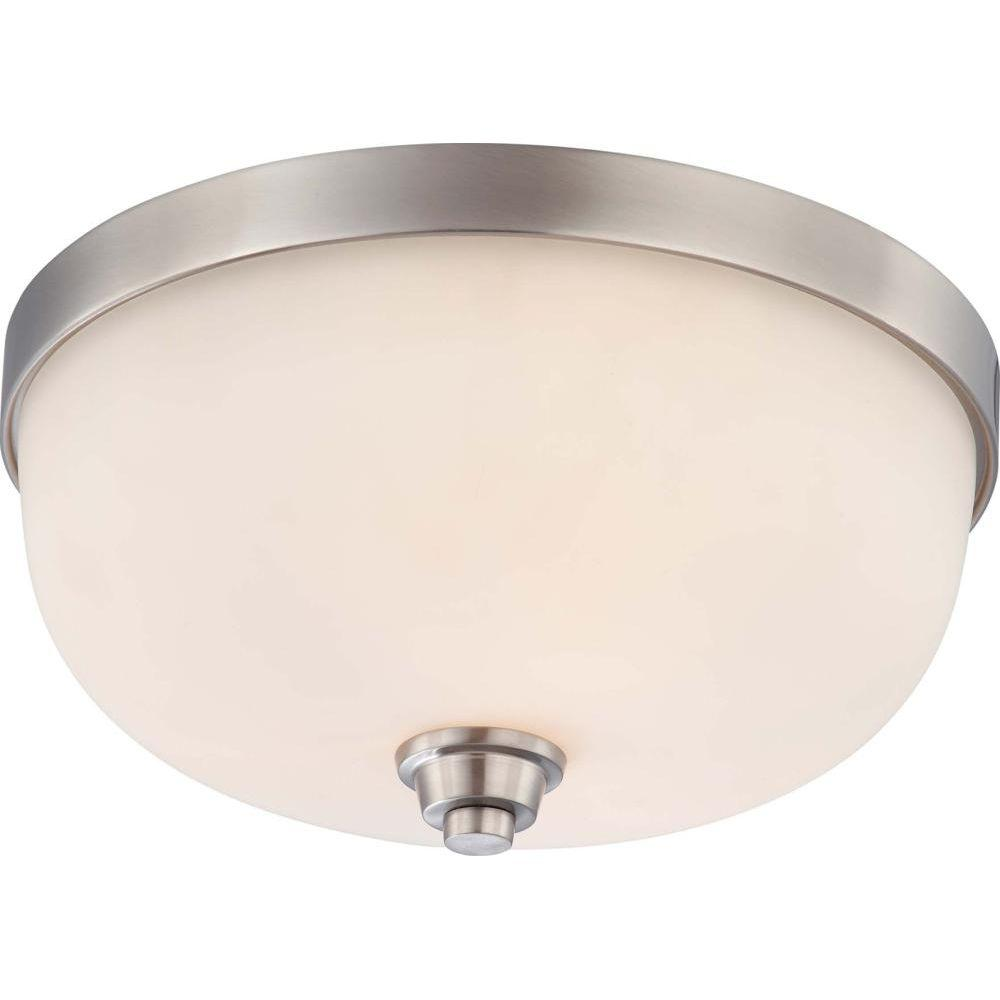 Una 3-Light Brushed Nickel Flushmount with Satin White Glass