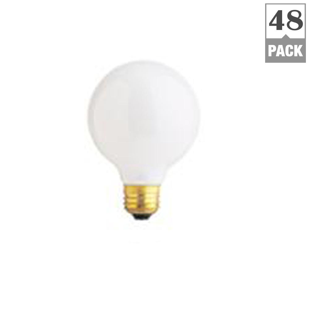 40 Watt Soft White Dimmable Incandescent G25 Frosted Light Bulb Maintenance Pack 48