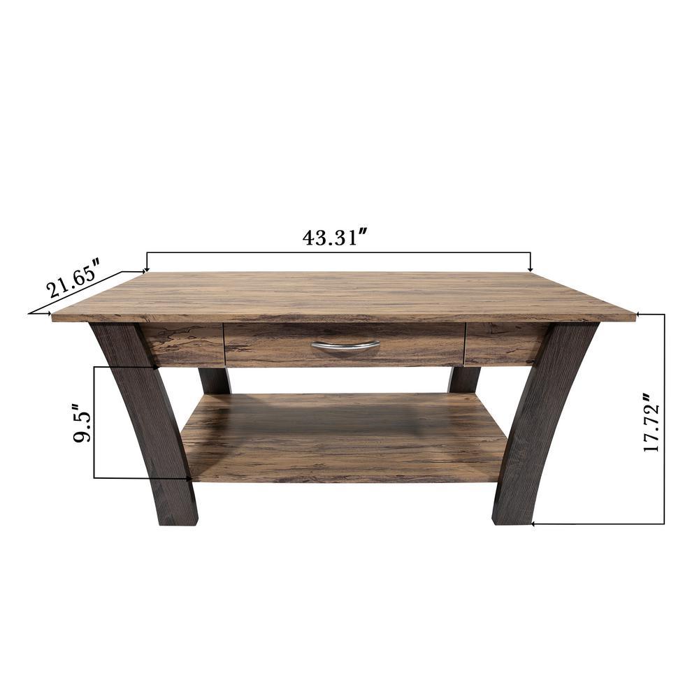 Ottomanson Zag Light Brown Dark Gray Coffee Table With Storage