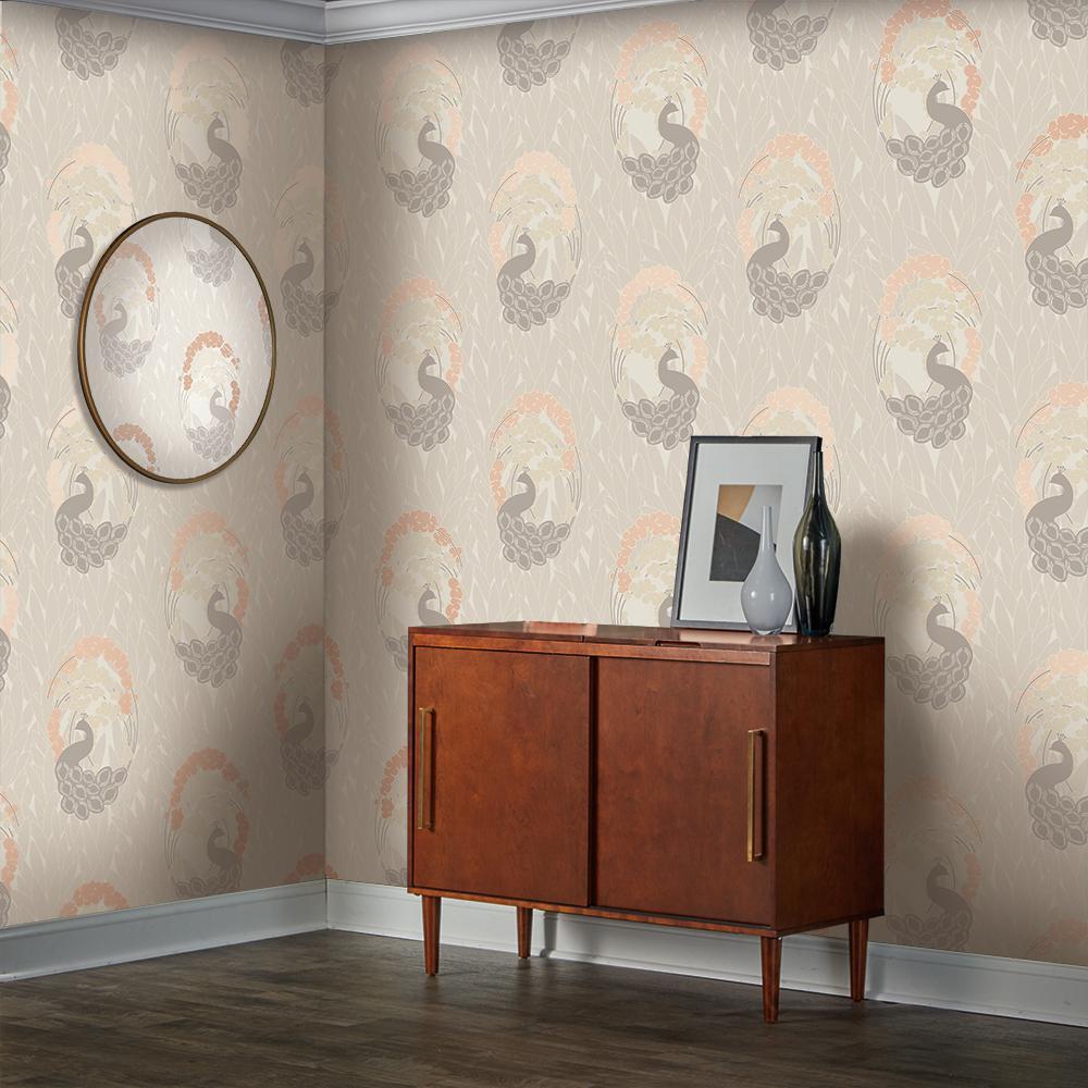 Tempaper Deco Peacock Vinyl Peelable Wallpaper Covers 60 Sq Ft De542 The Home Depot