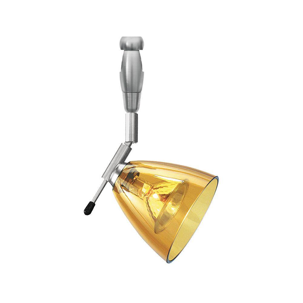 Mini-Dome I Swivel I 1-Light Satin Nickel Amber Track Lighting Head
