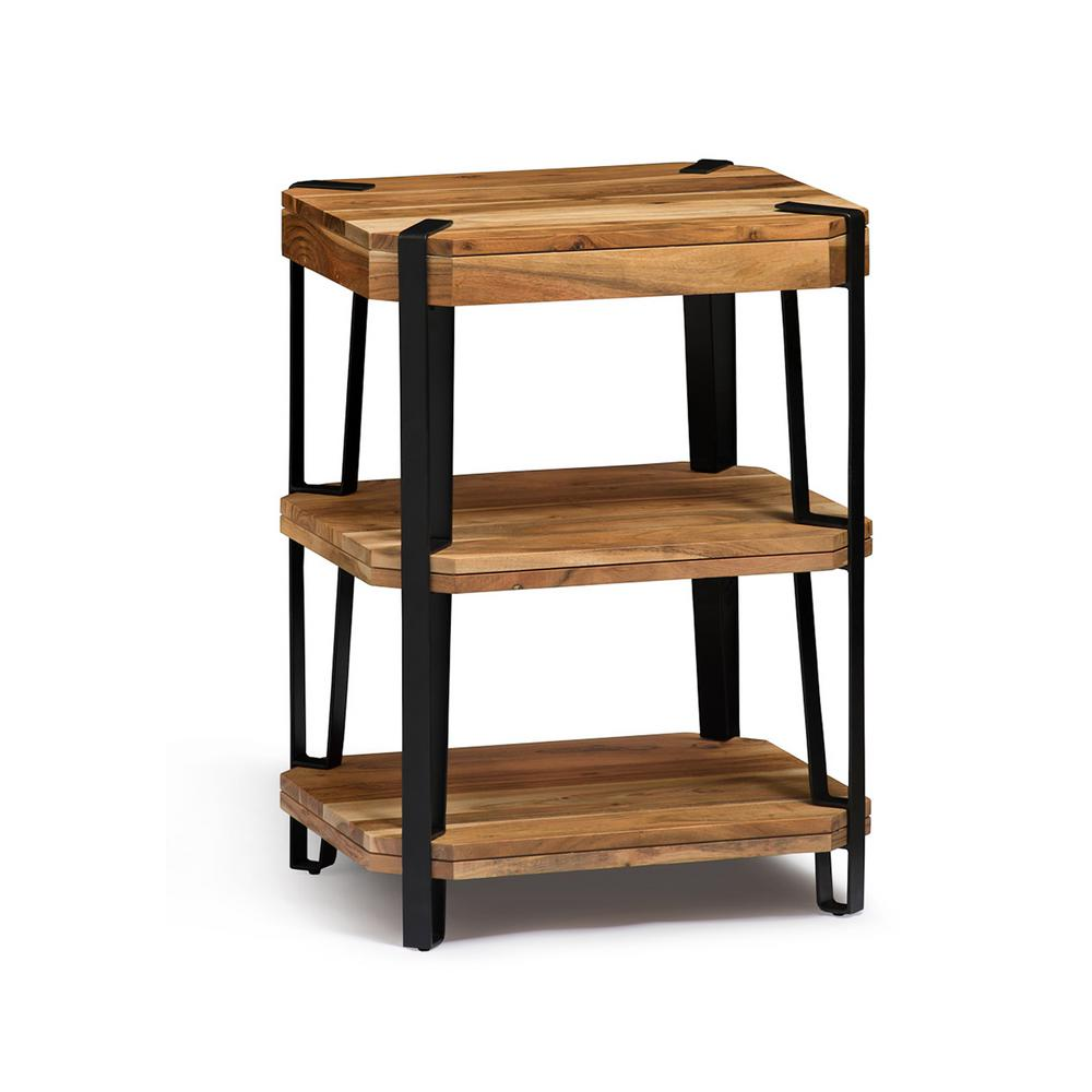 Ryegate Live Edge Brown and Black Natural Wood with Metal 2-Shelf