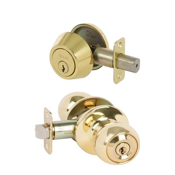 Fairfield Classic Style Polished Brass Round Shape Entry Door Knob and Single Cylinder Deadbolt Combo Pack Keyed Alike