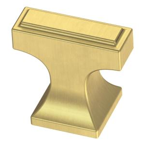 Rectangular Platform 3/4 in. (19mm) Brushed Brass Cabinet Knob