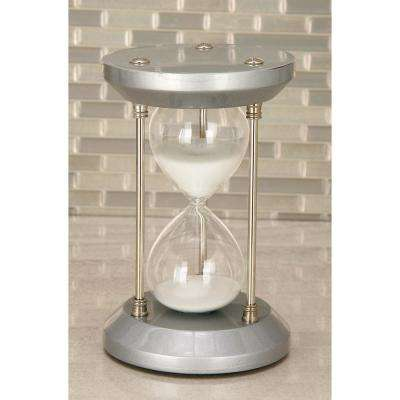 15-Minute Silver Wooden Hourglass 4 in. x 7 in. Sand Timer