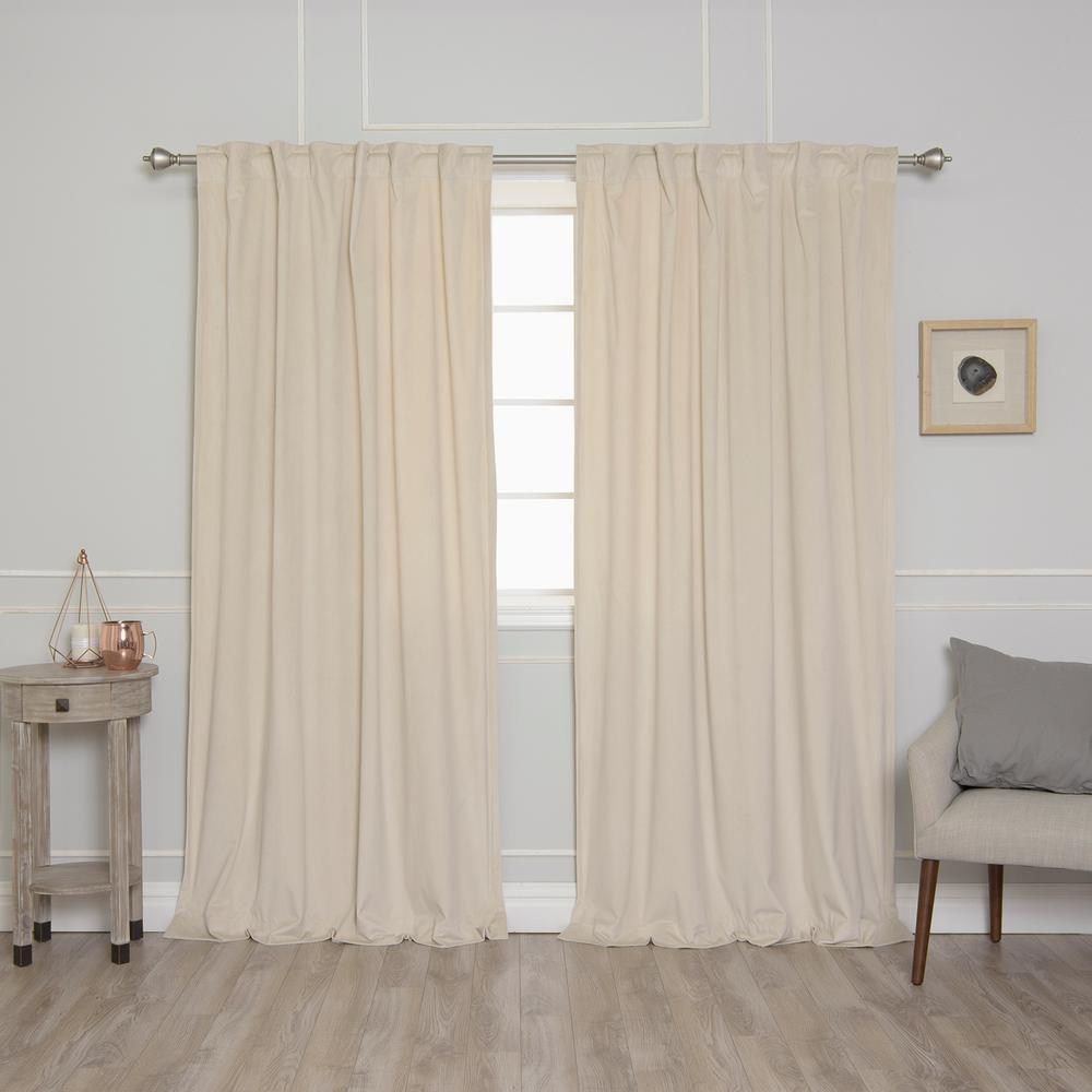 Beige 96 in. L Room Darkening Luster Velvet Rod Pocket Curtain
