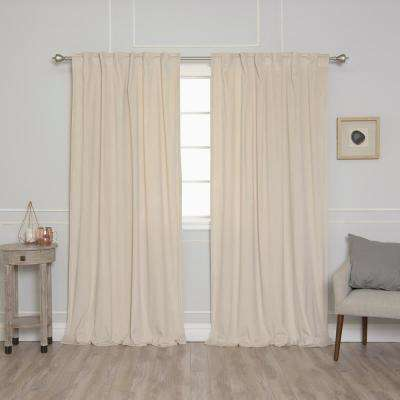 Beige 96 in. L Room Darkening Luster Velvet Rod Pocket Curtain Panel