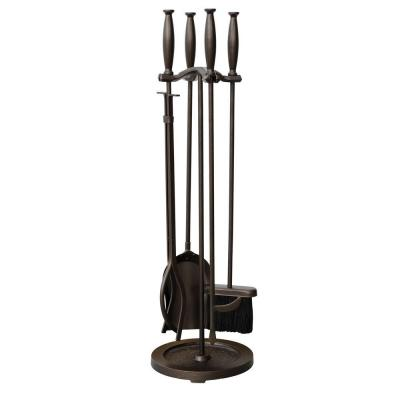 Bronze 5-Piece Fireplace Tool Set with Cylinder Handles and Heavy Weight Steel Construction