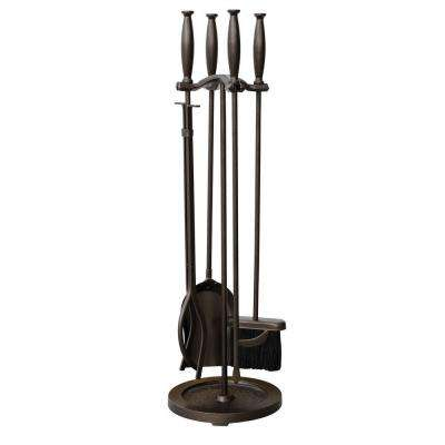 Bronze 5-Piece Fireplace Tool Set with Cylinder Handles