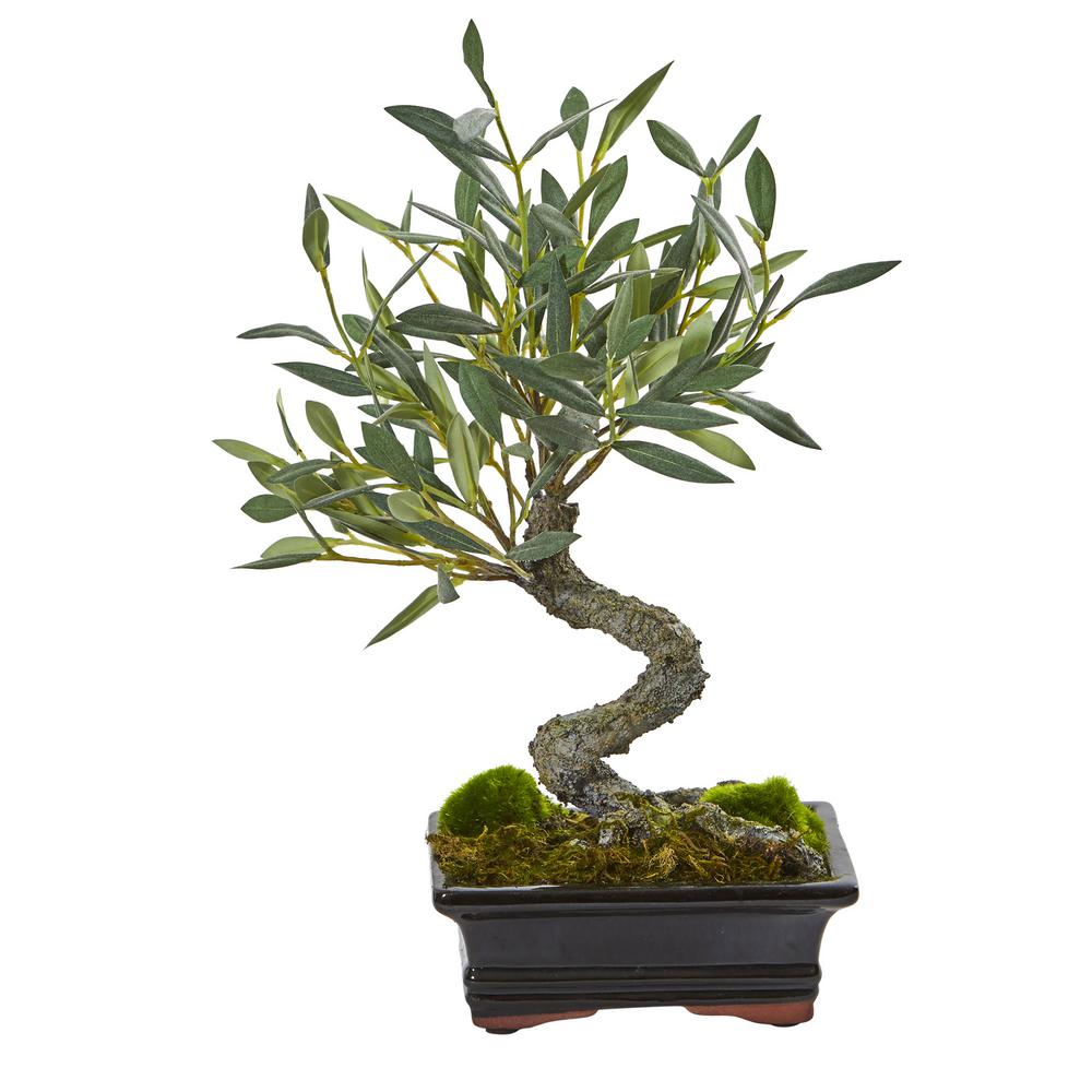 Nearly Natural Mini Indoor Olive Artificial Bonsai Tree