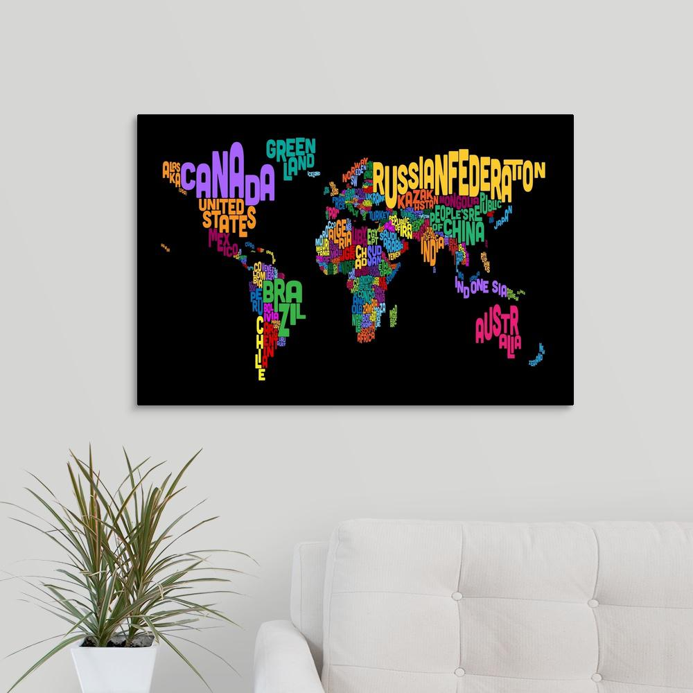 Greatbigcanvas country names world map multicolor on black by greatbigcanvas country names world map multicolor on black by michael tompsett canvas wall gumiabroncs Choice Image