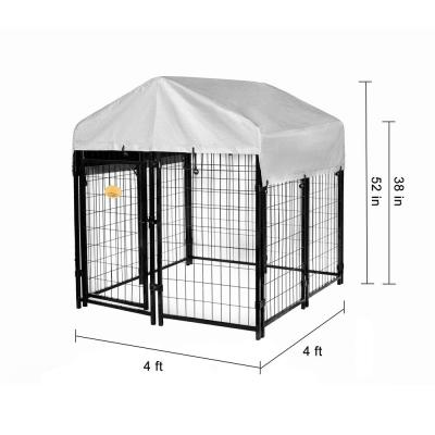 52 in. x 4 ft. x 4 ft. Welded Wire Dog Fence Kennel Kit