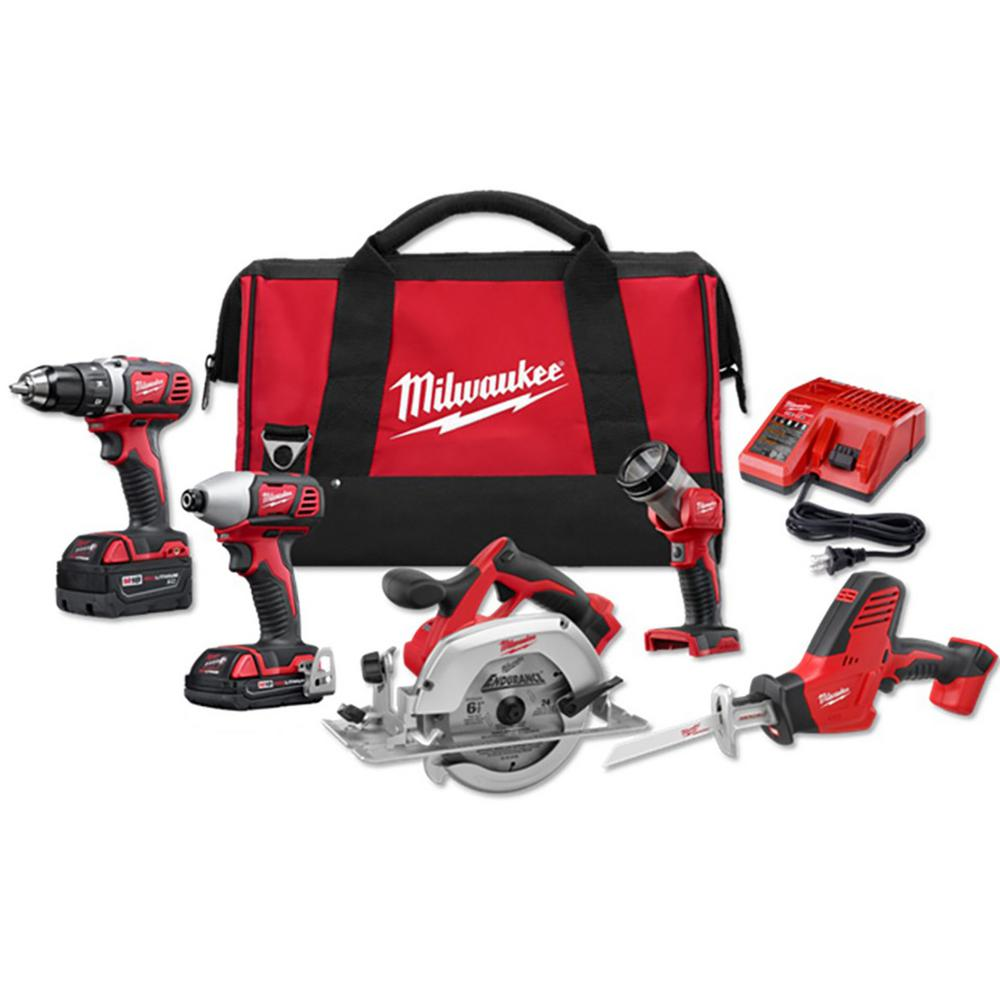 Milwaukee Cordless Combo 5 Tool Kit 18-V Li-Ion Bag Blades Keyless Chuck Light
