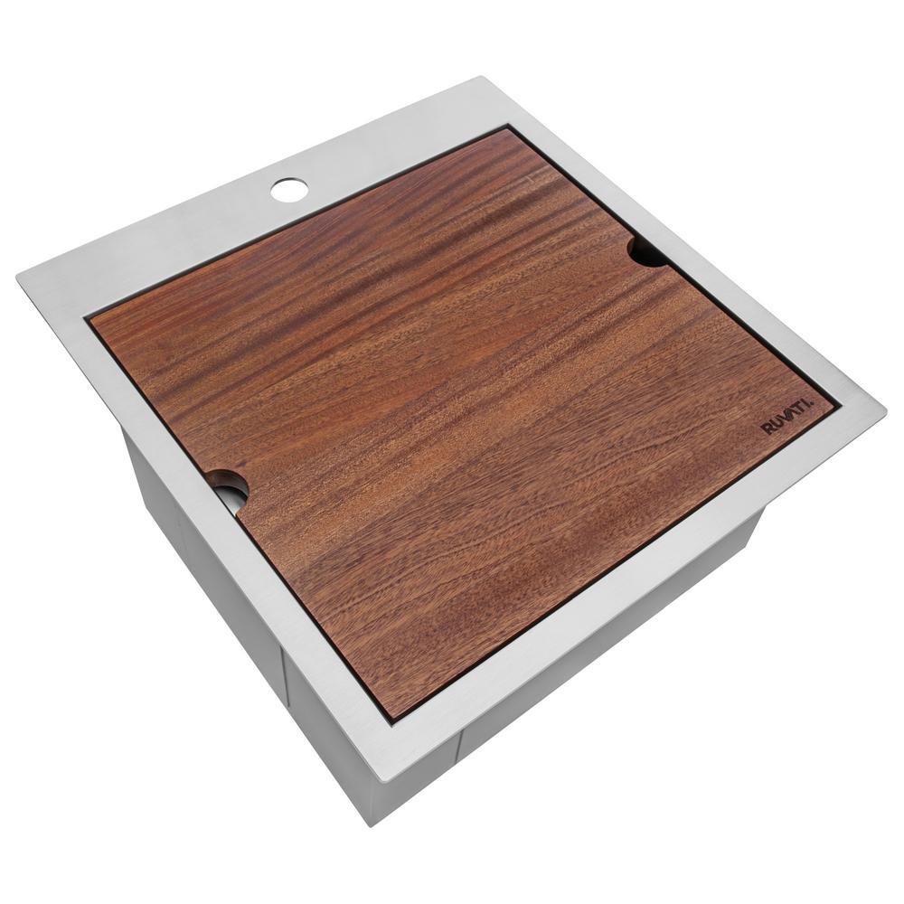 21 x 20 in. RV Workstation Drop-In Topmount Bar Prep Kitchen Sink 16-Gauge Stainless Steel