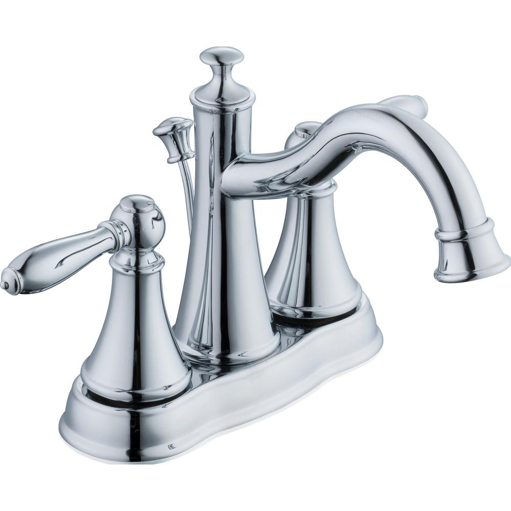 Glacier Bay Varina 4 in. Centerset 2-Handle High-Arc Bathroom Faucet in Chrome