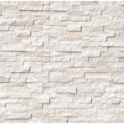 Arctic White Ledger Panel 6 in. x 24 in. Natural Marble Wall Tile (10 cases / 60 sq. ft. / pallet)