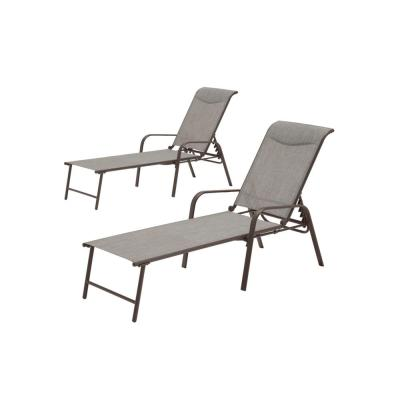 Mix and Match Steel Stackable Sling Outdoor Chaise Lounge in Riverbed Taupe with Headrest (2-Pack)