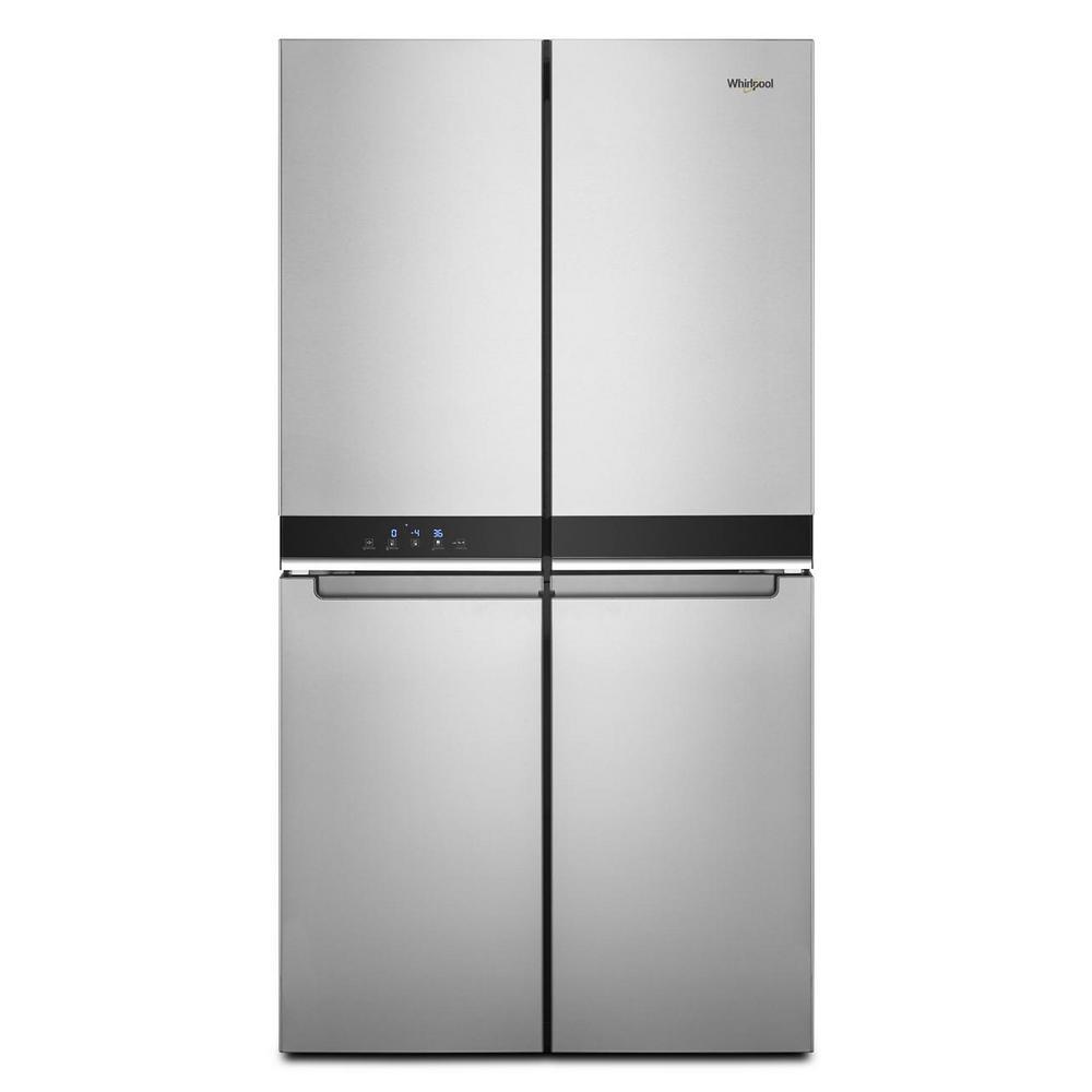 Whirlpool 36 In 19 4 Cu Ft 4 Door French Door Refrigerator In Fingerprint Resistant Stainless Steel Counter Depth Wrqa59cnkz The Home Depot