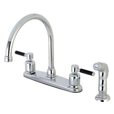 Modern 2-Handle High Arc Standard Kitchen Faucet with Side Sprayer in Chrome