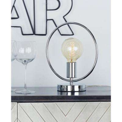 11 in. Silver Circular Frame Table Lamp with Bulb