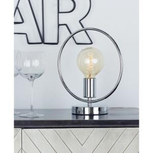11 inch Silver Circular Frame Table Lamp with Bulb
