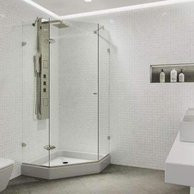 Verona 38.125 in. x 78.75 in. Frameless Neo-Angle Shower Enclosure in Brushed Nickel with Clear Glass with Base in White