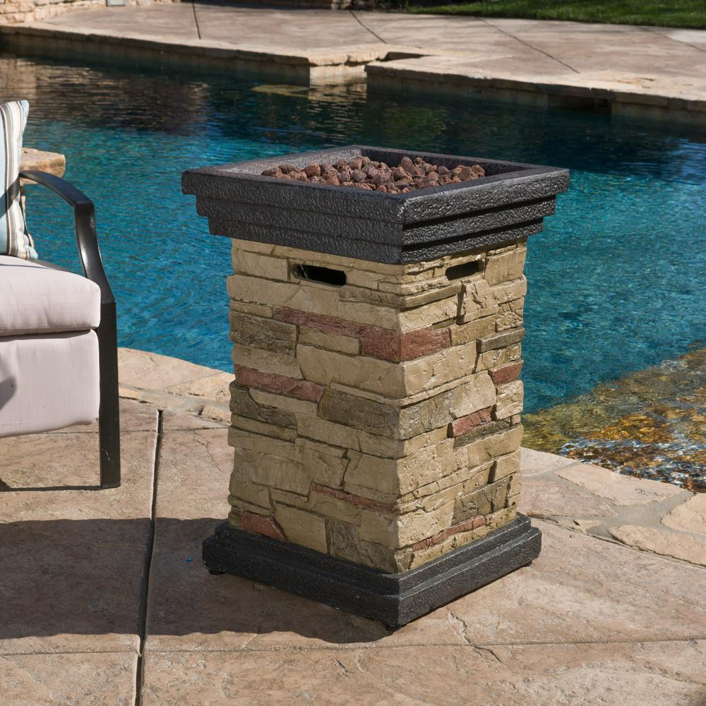 Noble House Chesney 19.50 in. x 29.00 in. Square Stone MGO Fire Pit - 40,000 BTU