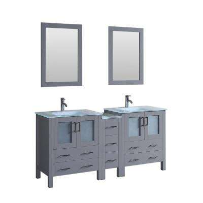 72 in. W Double Bath Vanity with Tempered Glass Vanity Top in White with White Basin and Mirror