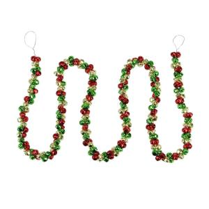 5 ft. Red Green and Gold Jingle Bell Christmas Garland