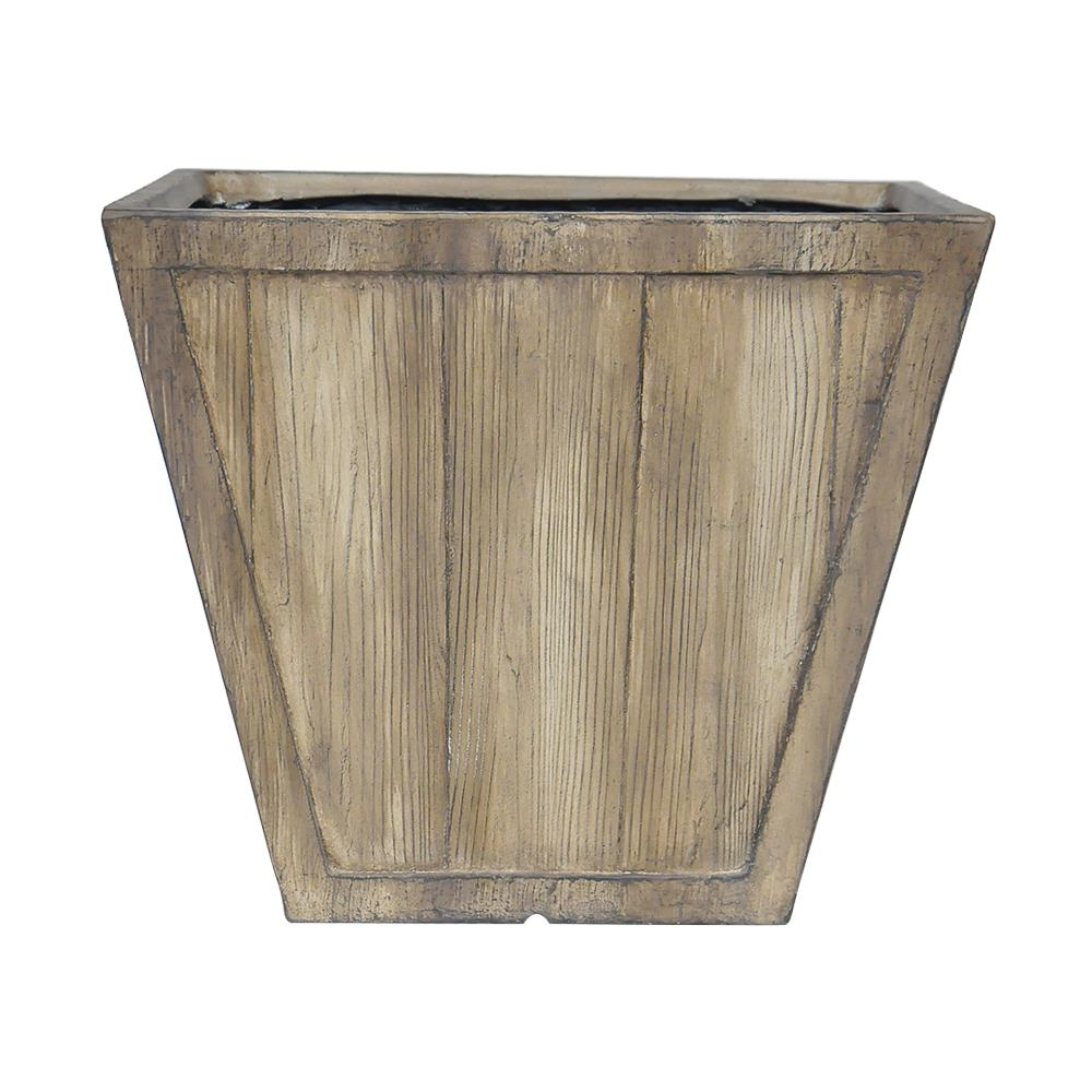 Square Composite Tapered Faux Wood Planter In White Washed Wood  Finish PC7831WWW   The Home Depot