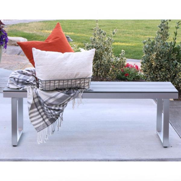 50'' Aluminum All-Weather Patio Outdoor Dining Bench - Grey