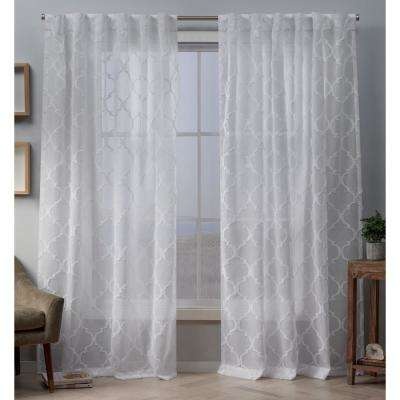 Aberdeen 54 in. W x 96 in. L Sheer Hidden Tab Top Curtain Panel in White (2 Panels)