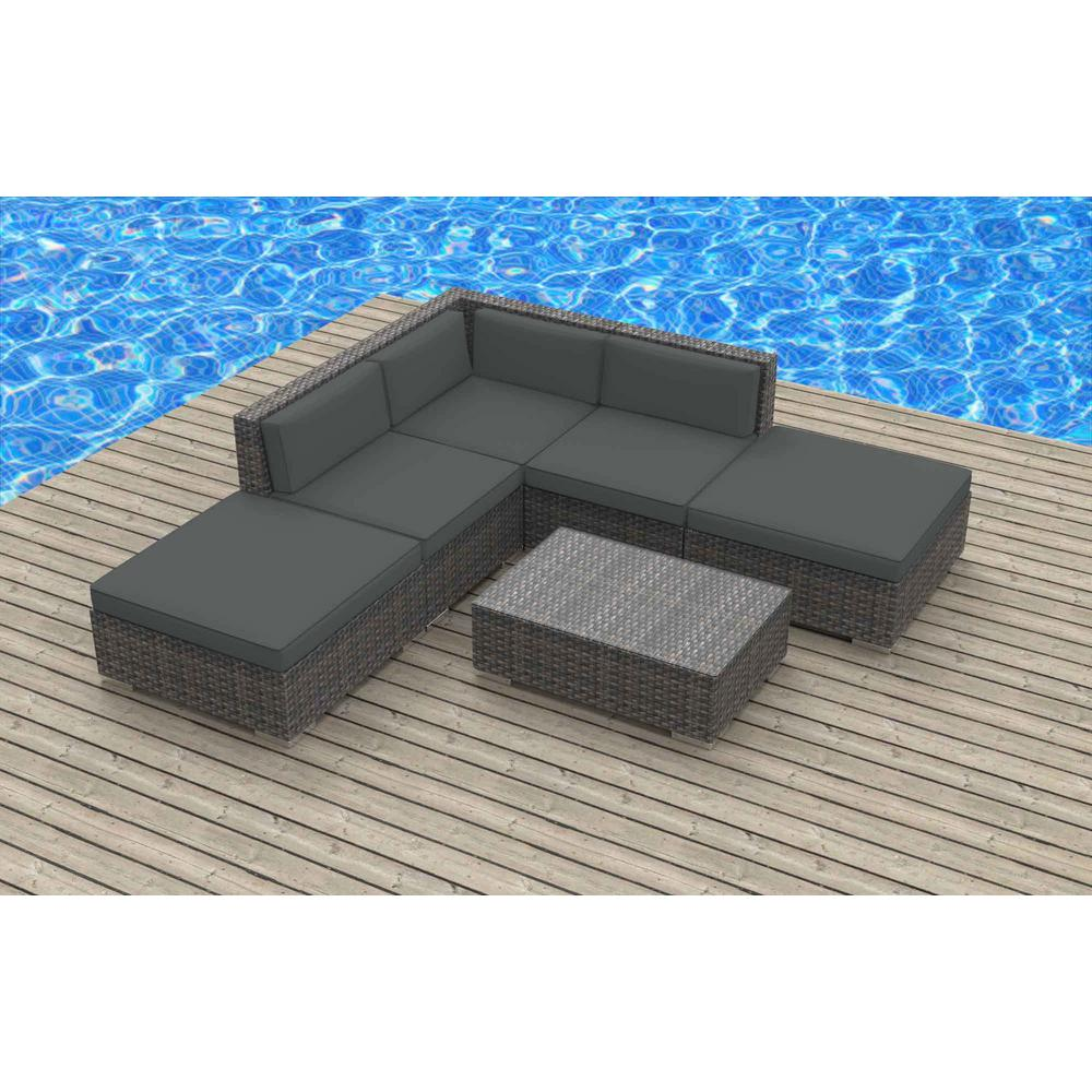 Urban Furnishing Bali 6 Piece Wicker Outdoor Sectional Seating Set With Gray Cushions