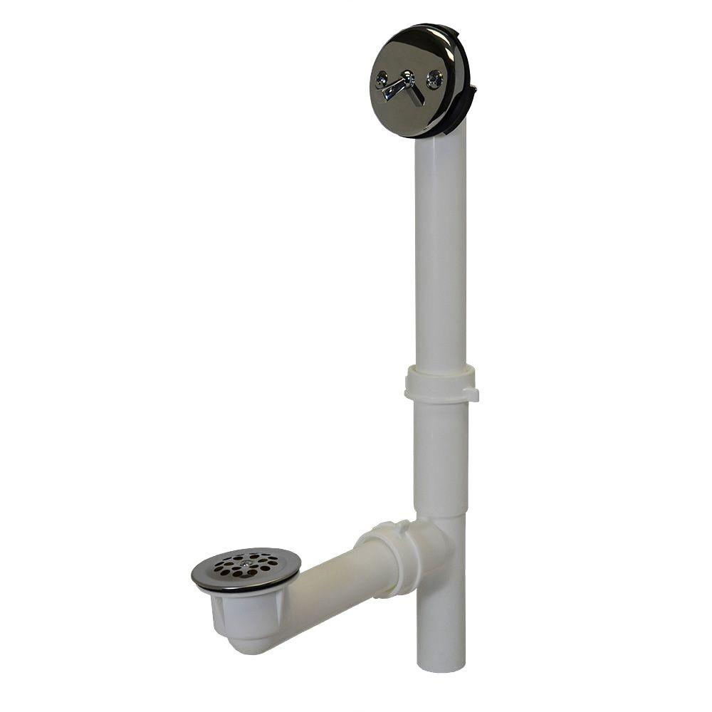 Everbilt Trip Lever 1-1/2 in. White Poly Pipe Bath Waste and ...