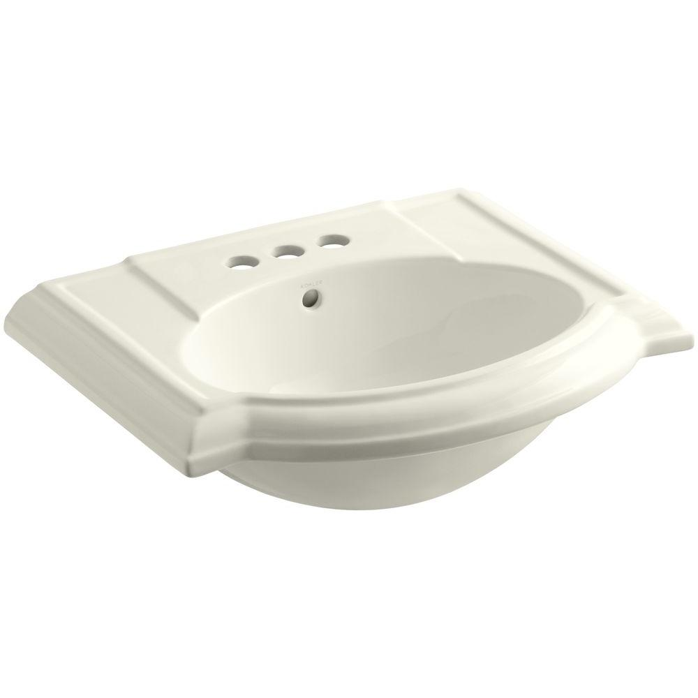Devonshire Vitreous China Pedestal Sink Basin in Biscuit with Overflow Drain