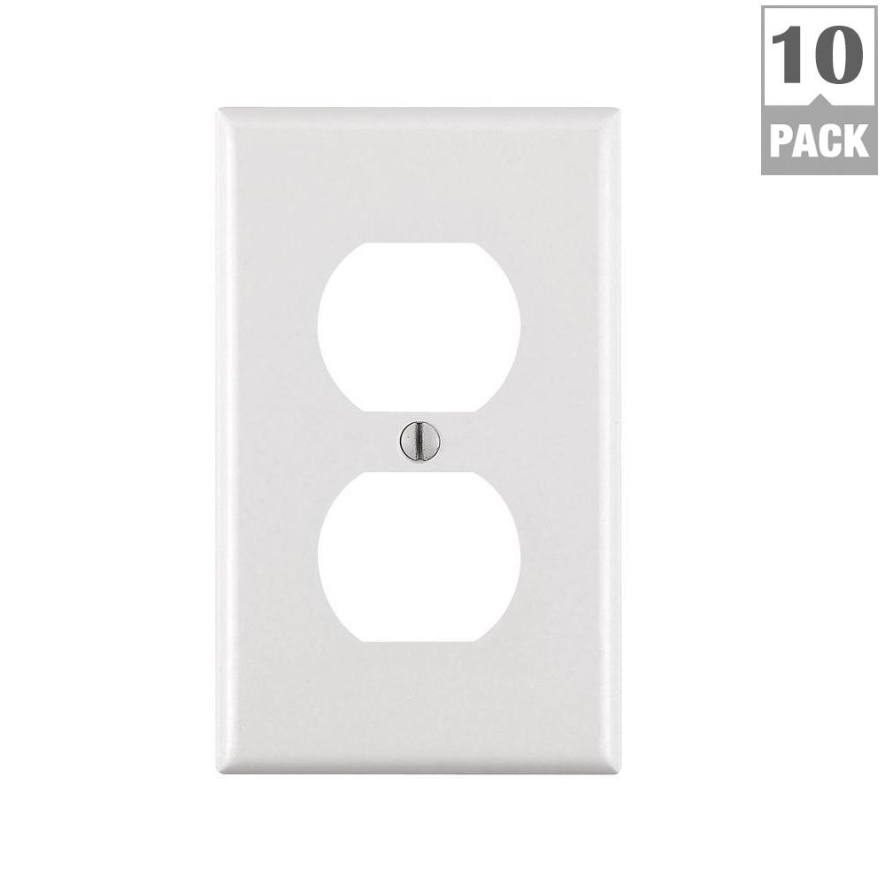 1-Gang Duplex Outlet Wall Plate, White (10-Pack)