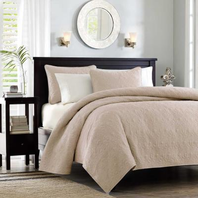 Mansfield 3-Piece Khaki Full/Queen Reversible Mini Coverlet Set