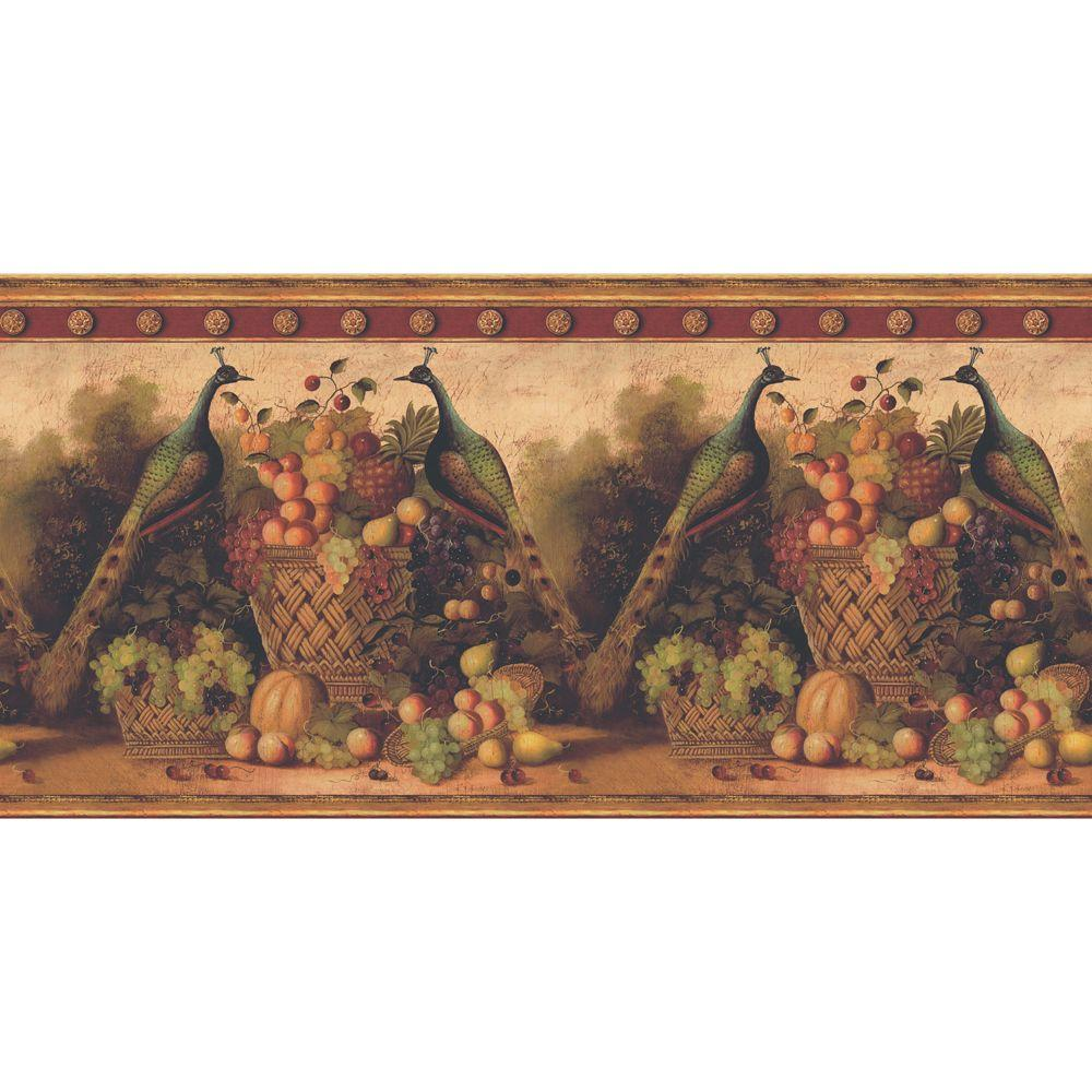 The Wallpaper Company 13.5 in. x 15 ft. Red Earth Tone Peacocks and Fruit Border-DISCONTINUED